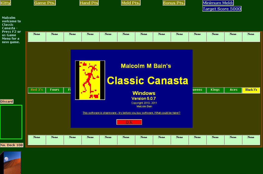can you play 5 handed canasta rules