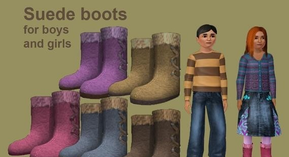 Sims3 - child suede boots toplist cp child