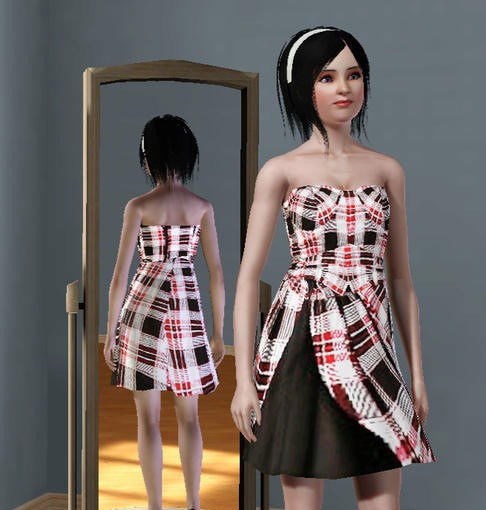 Sims3 - Red Plaid Dress HT