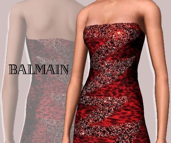 Sims3 - Red Balmain dresses