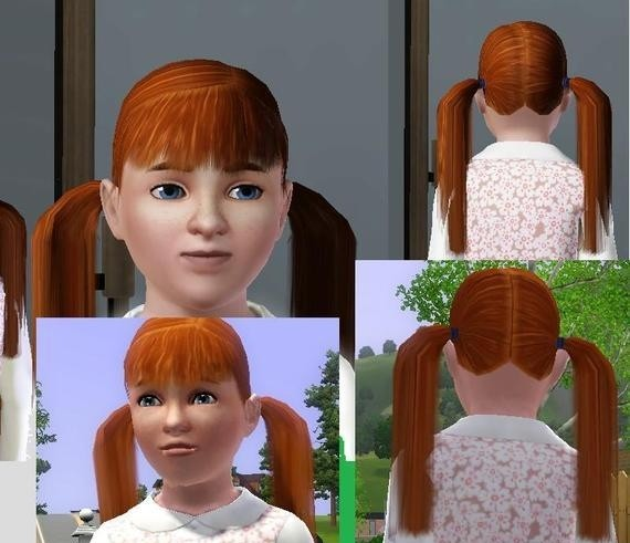 Sims3 - Long Child Pigtails toplist cp child