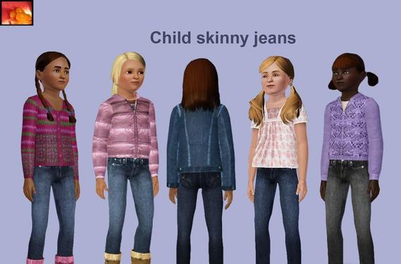 Sims3 - child F skinny jeans toplist cp child