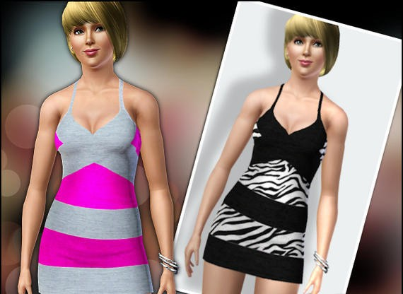 Sims3 - Striped Halter Dress