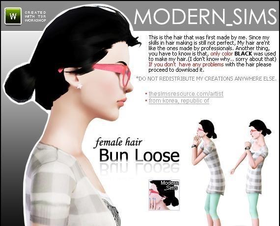 sims3 -female hair Bun Loose