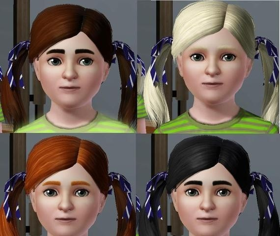 Sims3 - Child female Pigtails toplist cp child