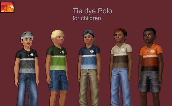 Sims3 - boy child tie dye polo toplist cp child