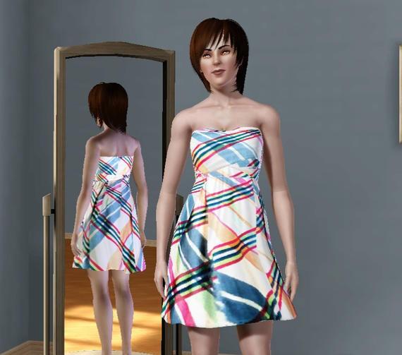 Sims3 - Nicolette Plaid Dress