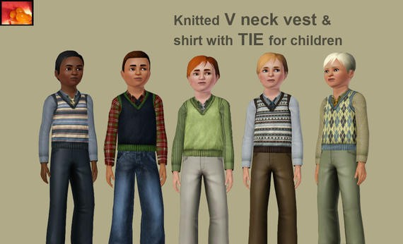 Sims3 - boy child vest with tie