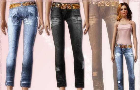 Sims3 - Destroyed Bootcut Jean