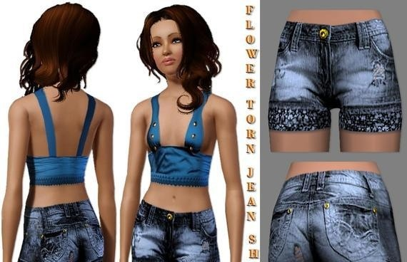 Sims3 - Flower Bottom Jean Shorts