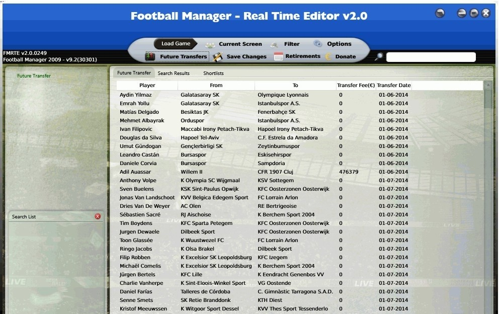 Football Manager - Real Time Editor