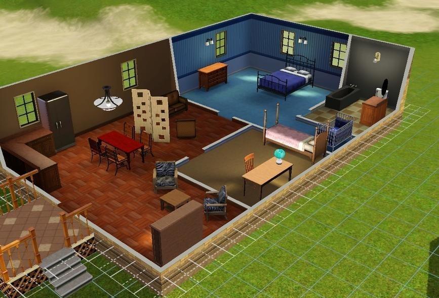 Sims3 medium modern starter house games starter house for Medium modern house designs