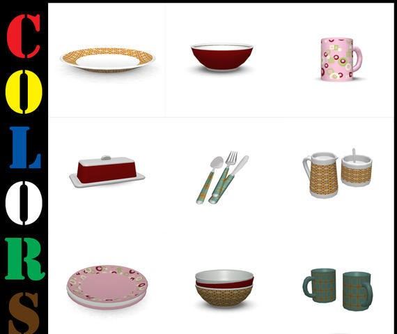 Sims3 - Colors Breakfast Clutter Set